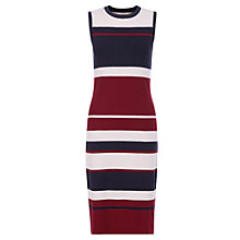 Buy Hobbs Grace Stripe Shift Dress, Burgundy Online at johnlewis.com