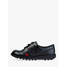Buy Kickers Children's Kick Lo Core Lace Up Shoes, Black Leather Online at johnlewis.com