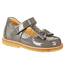 Buy ANGULUS Children's Bow T-Bar Shoes, Grey Patent Online at johnlewis.com