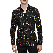 Buy Reiss Zeeno Print Shirt, Black Online at johnlewis.com