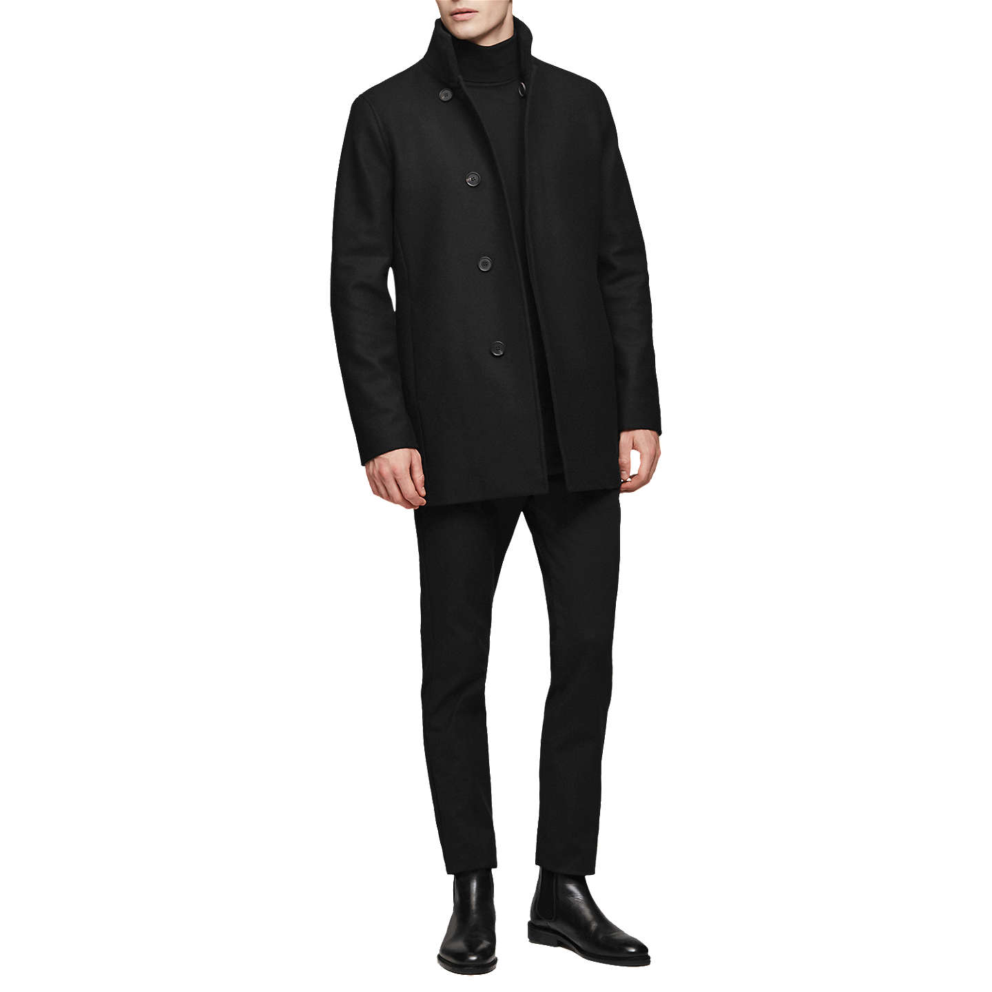 BuyReiss Curraghmore Funnel Collar Jacket, Black, XS Online at johnlewis.com