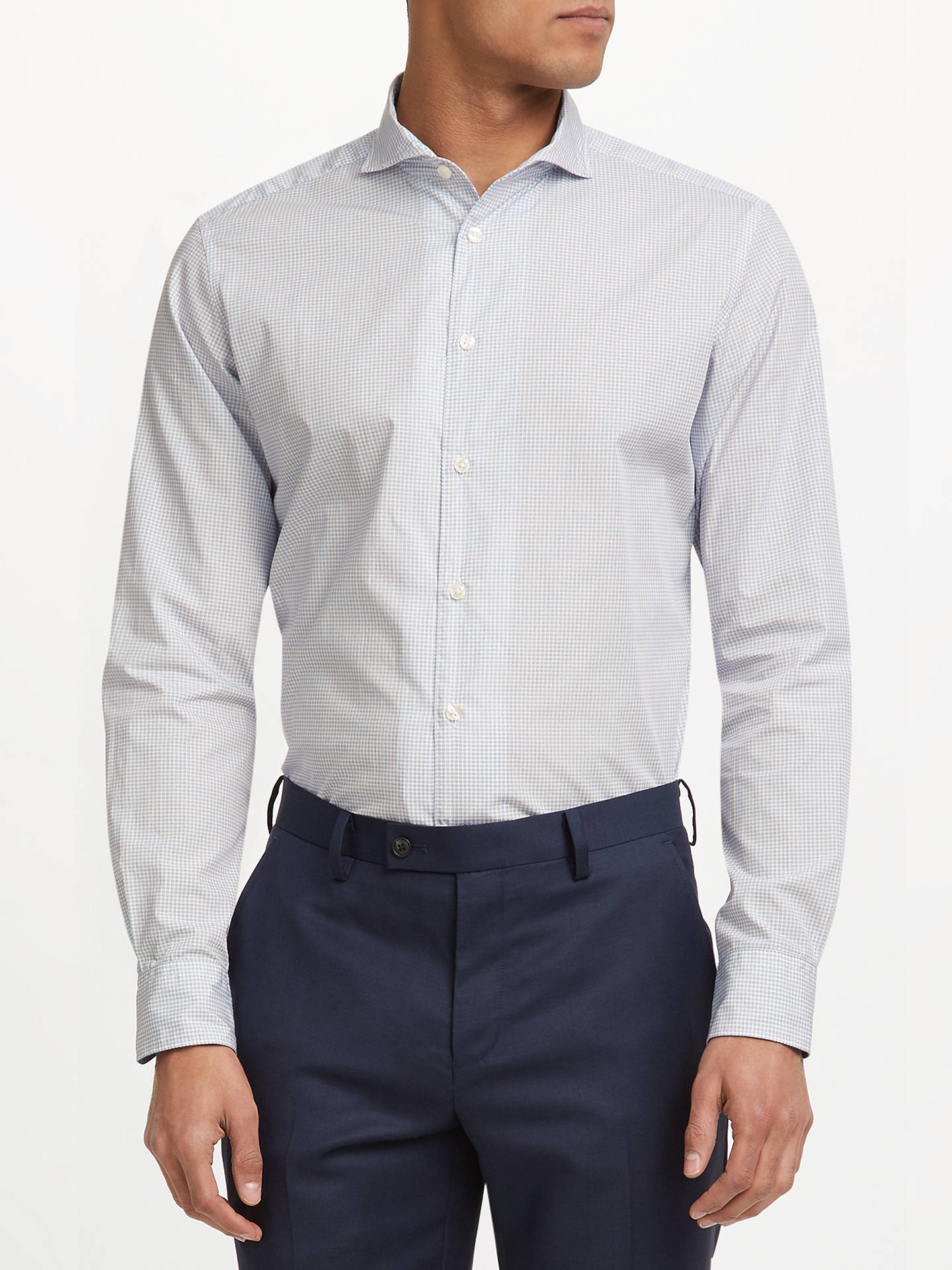 BuyJohn Lewis Woven in Italy Ditsy Print Tailored Fit Shirt, White/Blue, 15 Online at johnlewis.com
