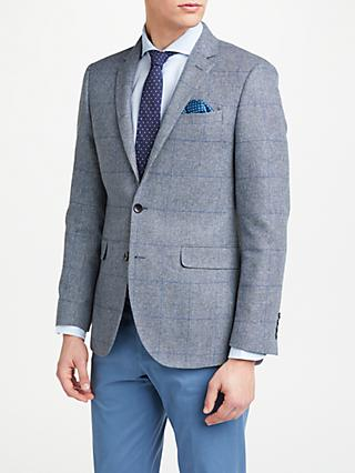 John Lewis & Partners Woven in Scotland Check Tailored Blazer, Grey/Blue
