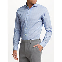 Buy John Lewis Woven in Italy Floral Print Tailored Fit Shirt, Blue Online at johnlewis.com