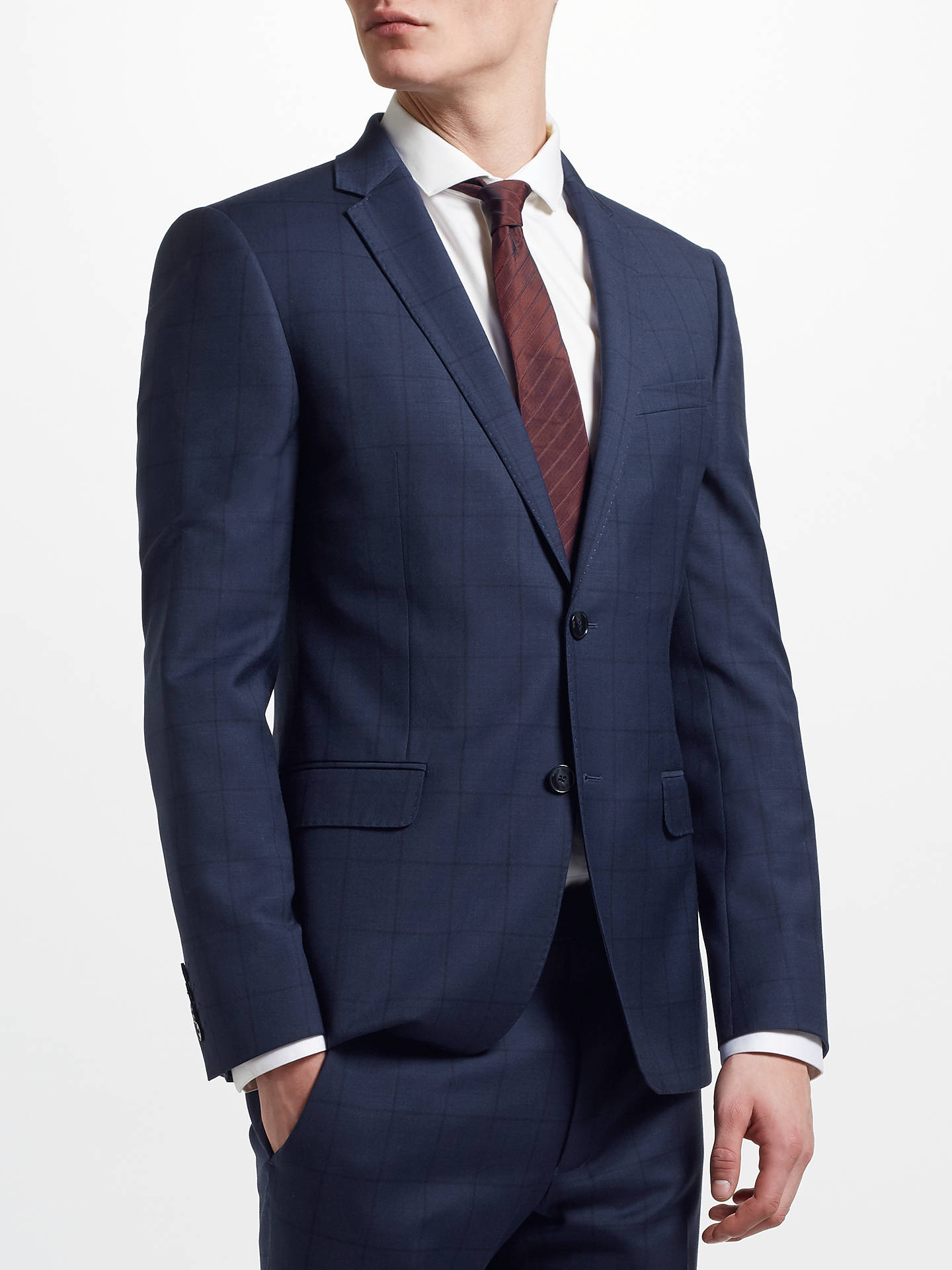 6419a84767dbf Buy Kin Windowpane Check Slim Fit Suit Jacket, Navy, 38L Online at  johnlewis.