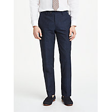 Buy John Lewis Woven in Italy Cotton Print Tailored Trousers, Navy Online at johnlewis.com