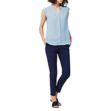 Buy Warehouse Sleeveless Blouse, Light Blue Online at johnlewis.com