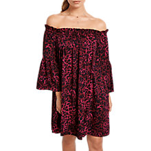 Buy hush Bryony Leopard Dress, Burgundy Online at johnlewis.com