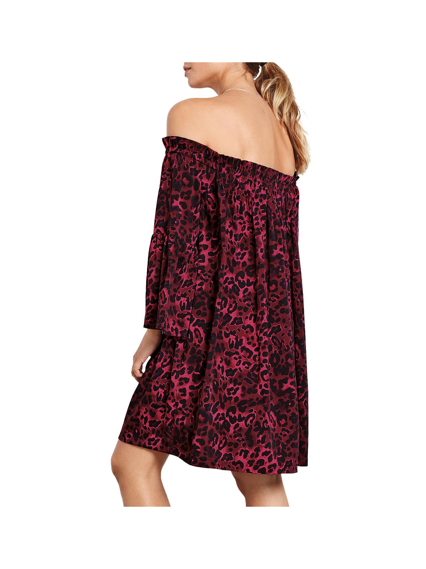 cf17ab9cf216 ... Buy hush Bryony Leopard Dress, Burgundy, 6 Online at johnlewis.com ...