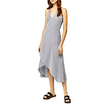 Buy Warehouse Cotton Ruffle Midi Dress, Grey Stripe Online at johnlewis.com