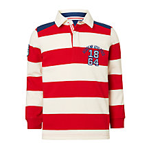 Buy John Lewis Boys' Bar Stripe Rugby Shirt, Red Online at johnlewis.com