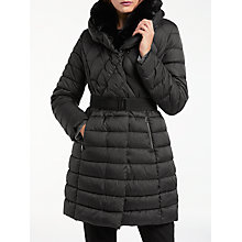 Buy Gerry Weber Faux Fur Trim Padded Coat, Black Online at johnlewis.com