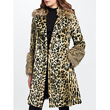 Buy Marc Cain Leopard Print Faux Fur Coat, Hazelnut Online at johnlewis.com