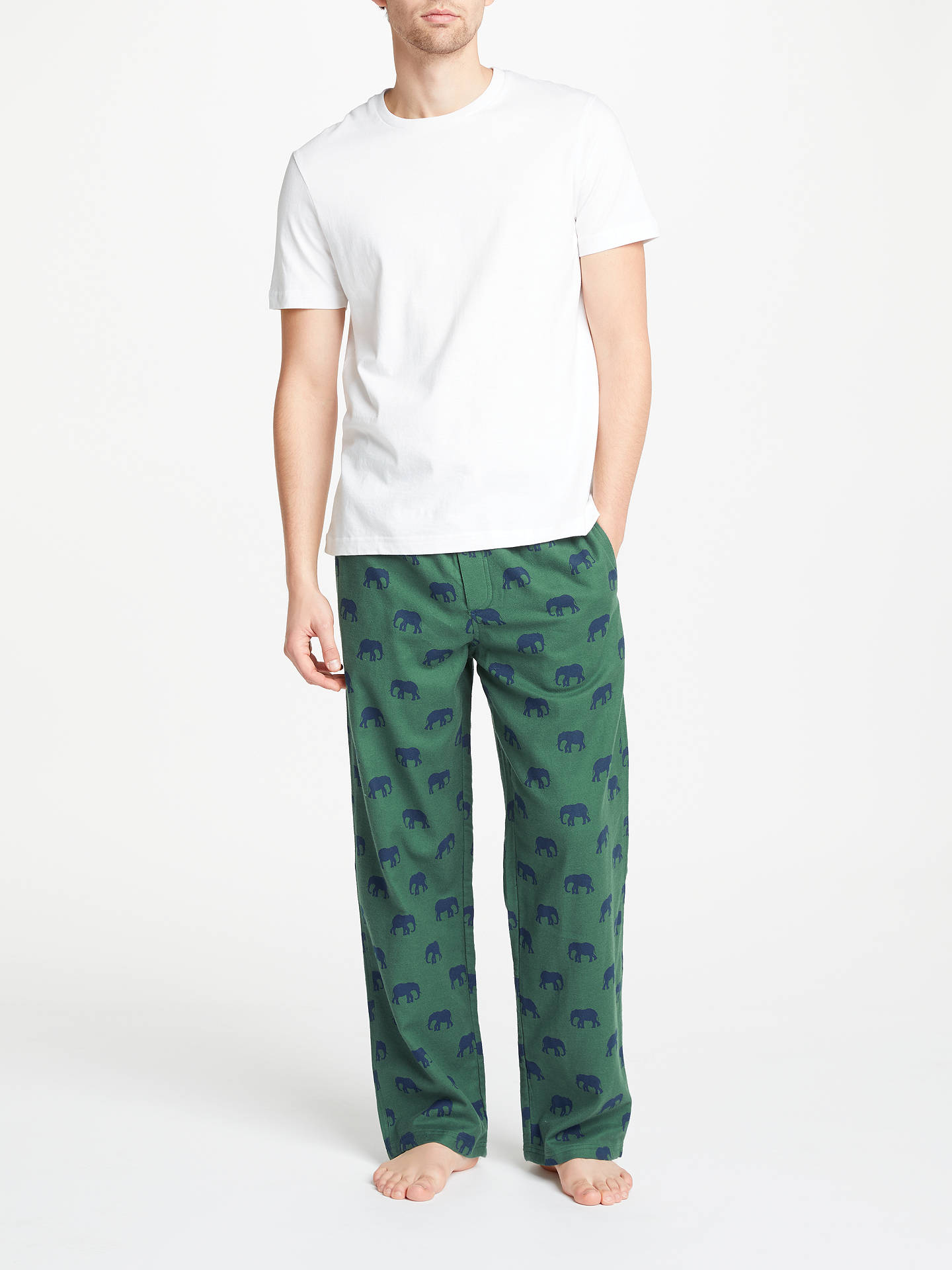 John lewis elephant print pyjama bottoms green at john lewis partners - Pyjama elephant ...