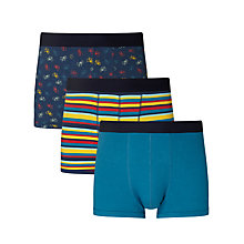 Buy John Lewis Bike Print Trunks, Pack of 3, Blue/Multi Online at johnlewis.com