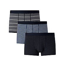 Buy John Lewis Multi Pattern Trunks, Pack of 3, Navy Online at johnlewis.com