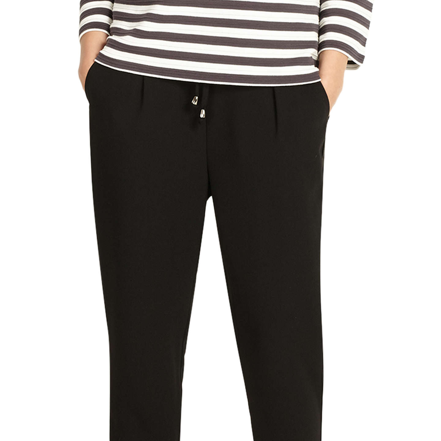 BuyPhase Eight Jayne Satin Stripe Trousers, Black, 8 Online at johnlewis.com