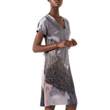 Buy Jigsaw Silk Golden Storm Constance Shift Dress, Shadow Grey Online at johnlewis.com