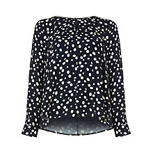 Buy Phase Eight Marilyn Spot Cutwork Blouse, Navy/Ivory Online at johnlewis.com