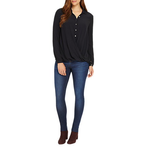Buy Phase Eight Poppy Cross Over Blouse, Navy Online at johnlewis.com