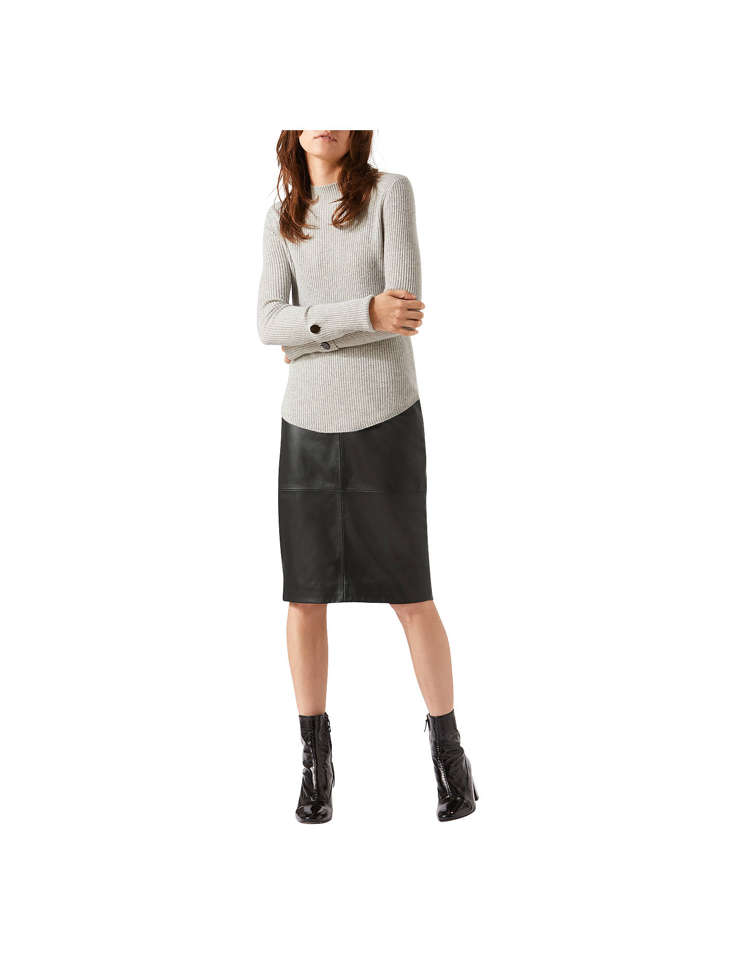06d3534b6b Buy Jigsaw Leather High Waisted Leather Pencil Skirt, Black, 6 Online at  johnlewis.