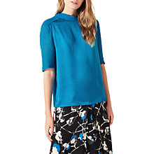 Buy Jigsaw Silk Turtleneck Jersey Top, Electric Blue Online at johnlewis.com