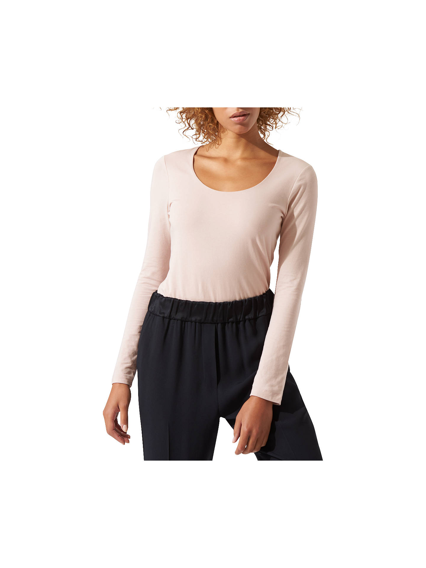 BuyJigsaw Double Front Scoop T-Shirt, Pink Haze, XS Online at johnlewis.com