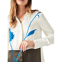 Buy Jigsaw Placement Thistle Silk Shirt, Ivory Online at johnlewis.com