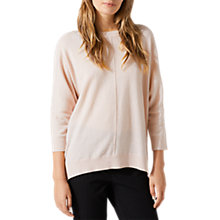 Buy Jigsaw Button Back Drop Hem Jumper, Pink Haze Online at johnlewis.com