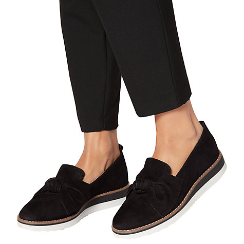 Buy Dune Gardinia Bow Wedge Heeled Loafers, Black Online at johnlewis.com