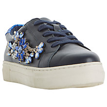 Buy Dune Emerelda Embellished Lace Up Trainers, Navy Leather Online at johnlewis.com