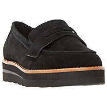 Buy Dune Gabryel Flatform Loafers, Black Suede Online at johnlewis.com