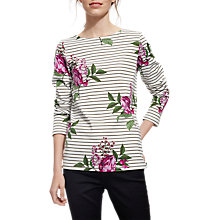 Buy Joules Harbour Long Sleeve Printed Jersey Top, Cream Artichoke Border Stripe Online at johnlewis.com