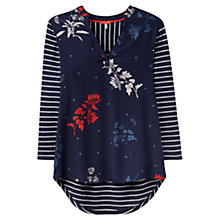 Buy Joules Scarlett Woven Jersey Mix Top, French Navy Fay Floral Online at johnlewis.com