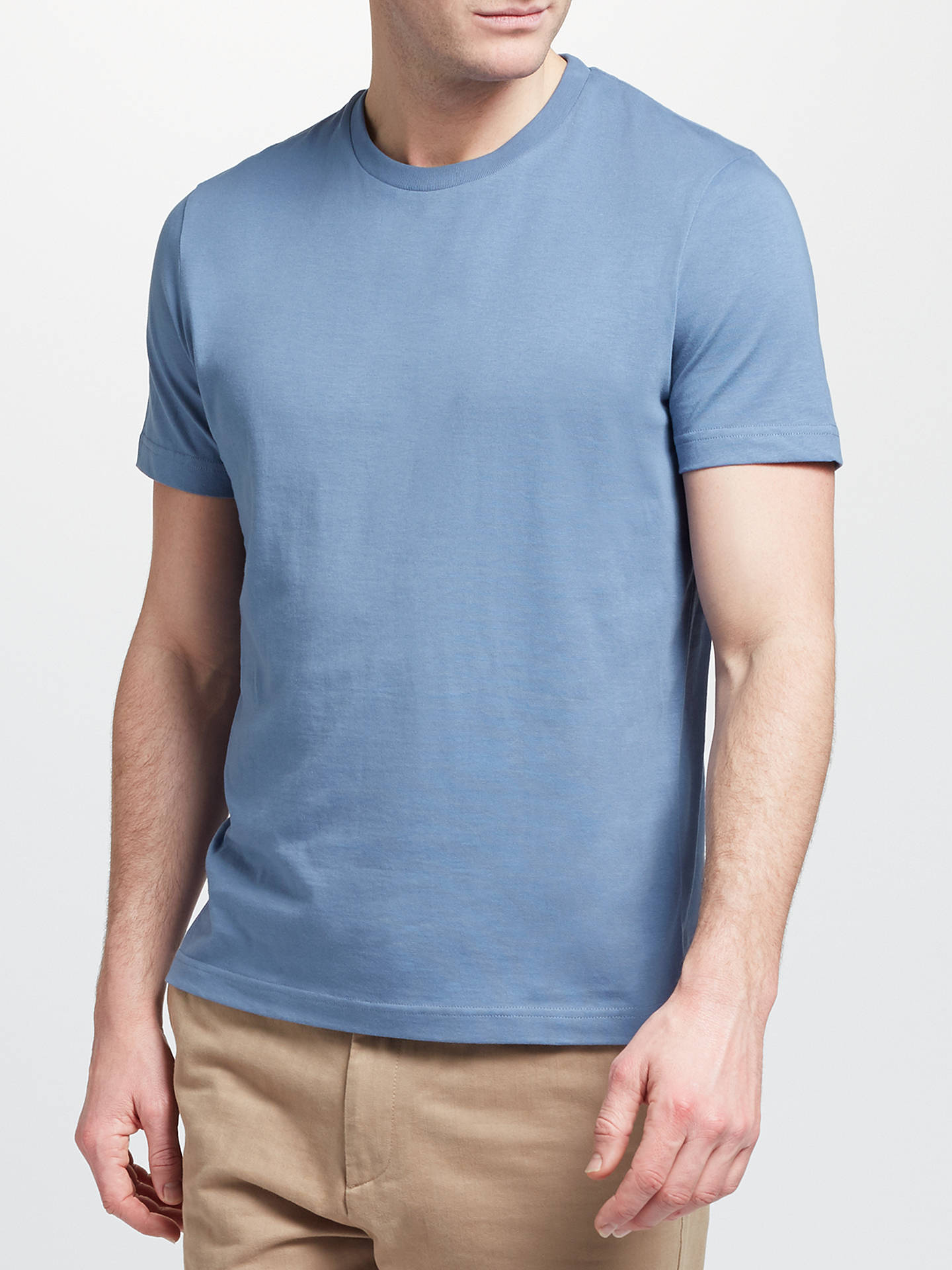 BuyJohn Lewis & Partners Basic Cotton Crew Neck T-Shirt, Coronet Blue, S Online at johnlewis.com