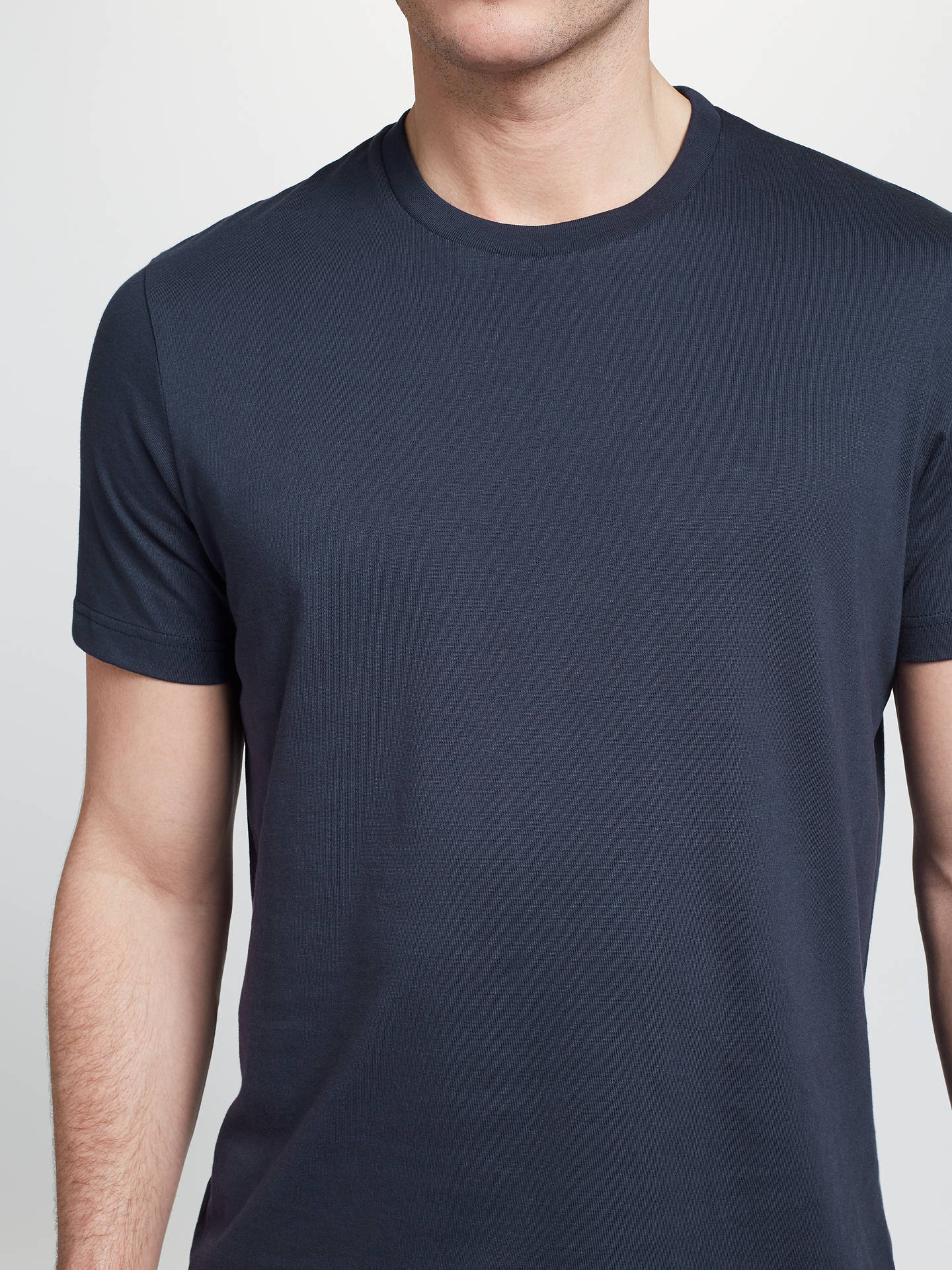BuyJohn Lewis & Partners Basic Cotton Crew Neck T-Shirt, Navy, S Online at johnlewis.com