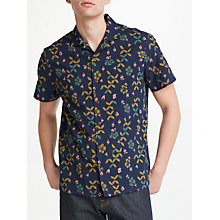 Buy JOHN LEWIS & Co. Japanese Woodblock Short Sleeve Shirt, Navy Online at johnlewis.com