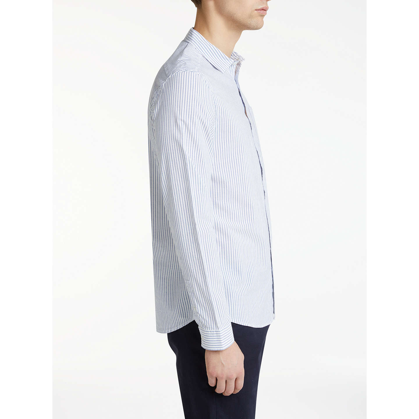 BuyKin by John Lewis Stripe Slim Fit Shirt, White/Blue, S Online at johnlewis.com