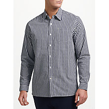 Buy John Lewis Cotton Poplin Gingham Shirt, Navy Online at johnlewis.com