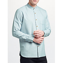 Buy John Lewis Grandad Collar Stripe Oxford Shirt, Blue Online at johnlewis.com