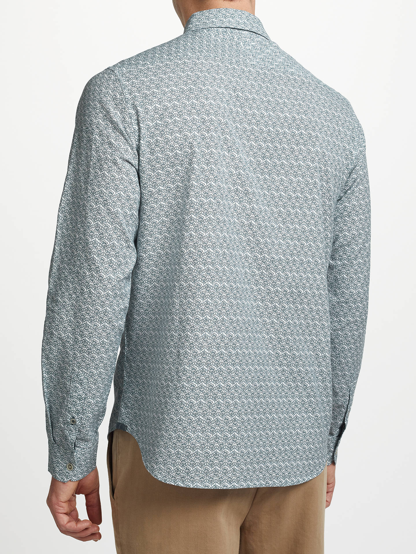 BuyJohn Lewis & Partners Dahlia Tile Print Shirt, Navy, S Online at johnlewis.com
