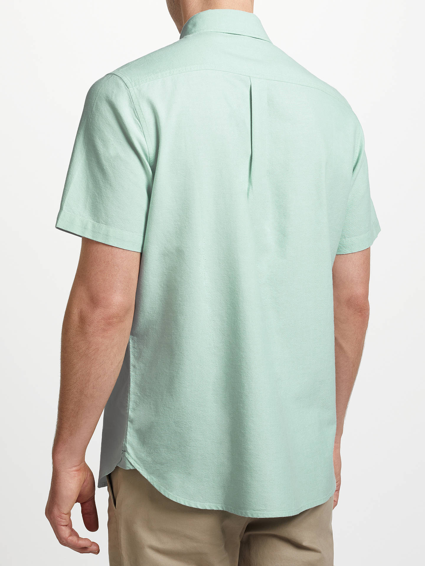 BuyJohn Lewis & Partners Cotton Oxford Short Sleeve Shirt, Green, S Online at johnlewis.com