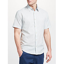 Buy John Lewis Leaf Block Print Short Sleeve Shirt, Blue Online at johnlewis.com