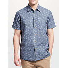 Buy John Lewis Tiger Print Short Sleeve Shirt, Navy Online at johnlewis.com