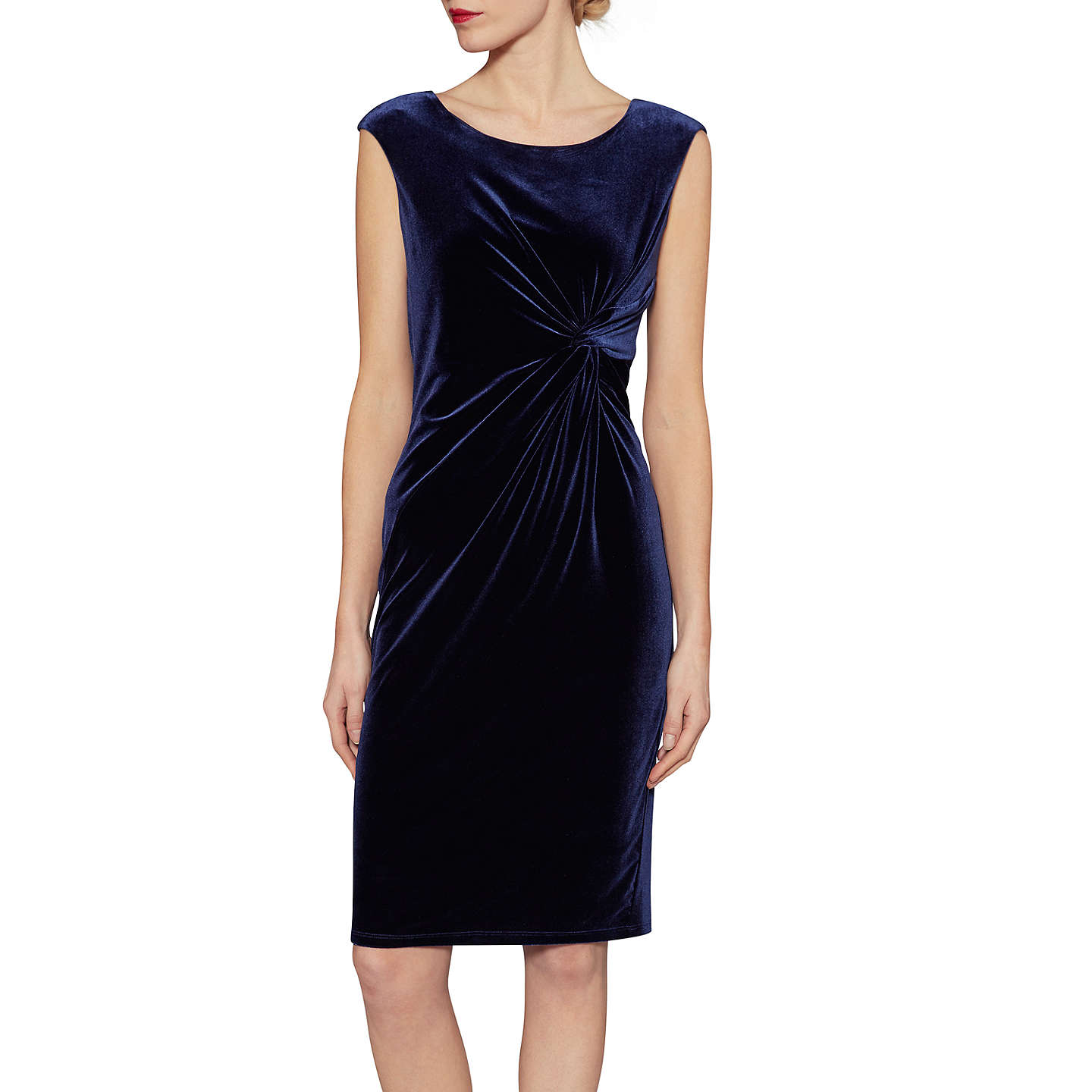 BuyGina Bacconi Abigail Velvet Knot Dress, Navy, 10 Online at johnlewis.com