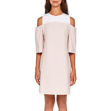 Buy Ted Baker Colour By Numbers Janoo Cold Shoulder Dress, Nude Pink/White Online at johnlewis.com