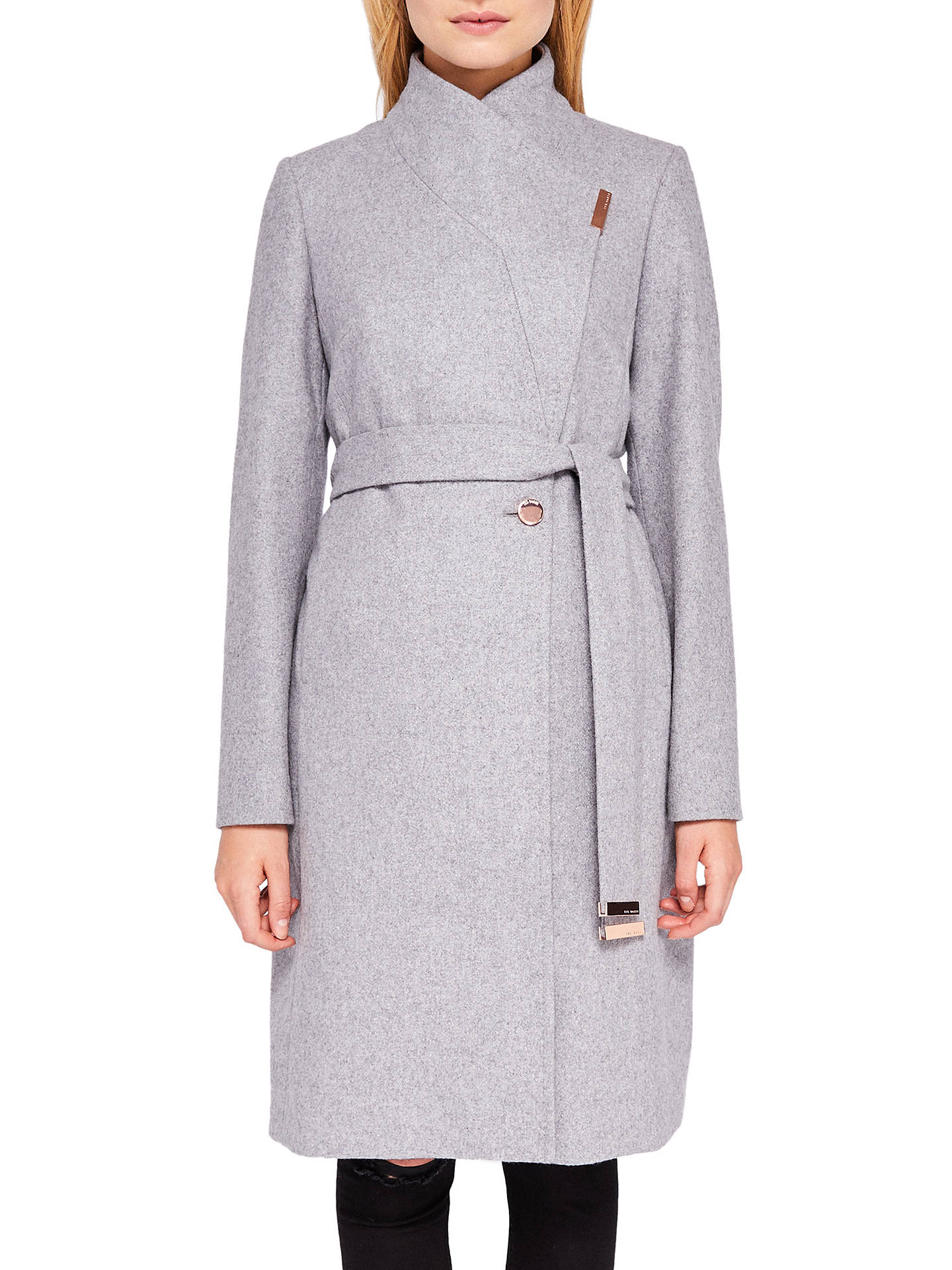 b1230dd3b9a1 Buy Ted Baker Khera Wool Cashmere Blend Wrap Coat, Light Grey, 6 Online at  ...
