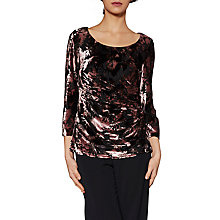 Buy Gina Bacconi Nicole Floral Velvet Top, Plum Frost Online at johnlewis.com