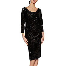 Buy Gina Bacconi Kelly Velvet Dress, Black/Gold Online at johnlewis.com