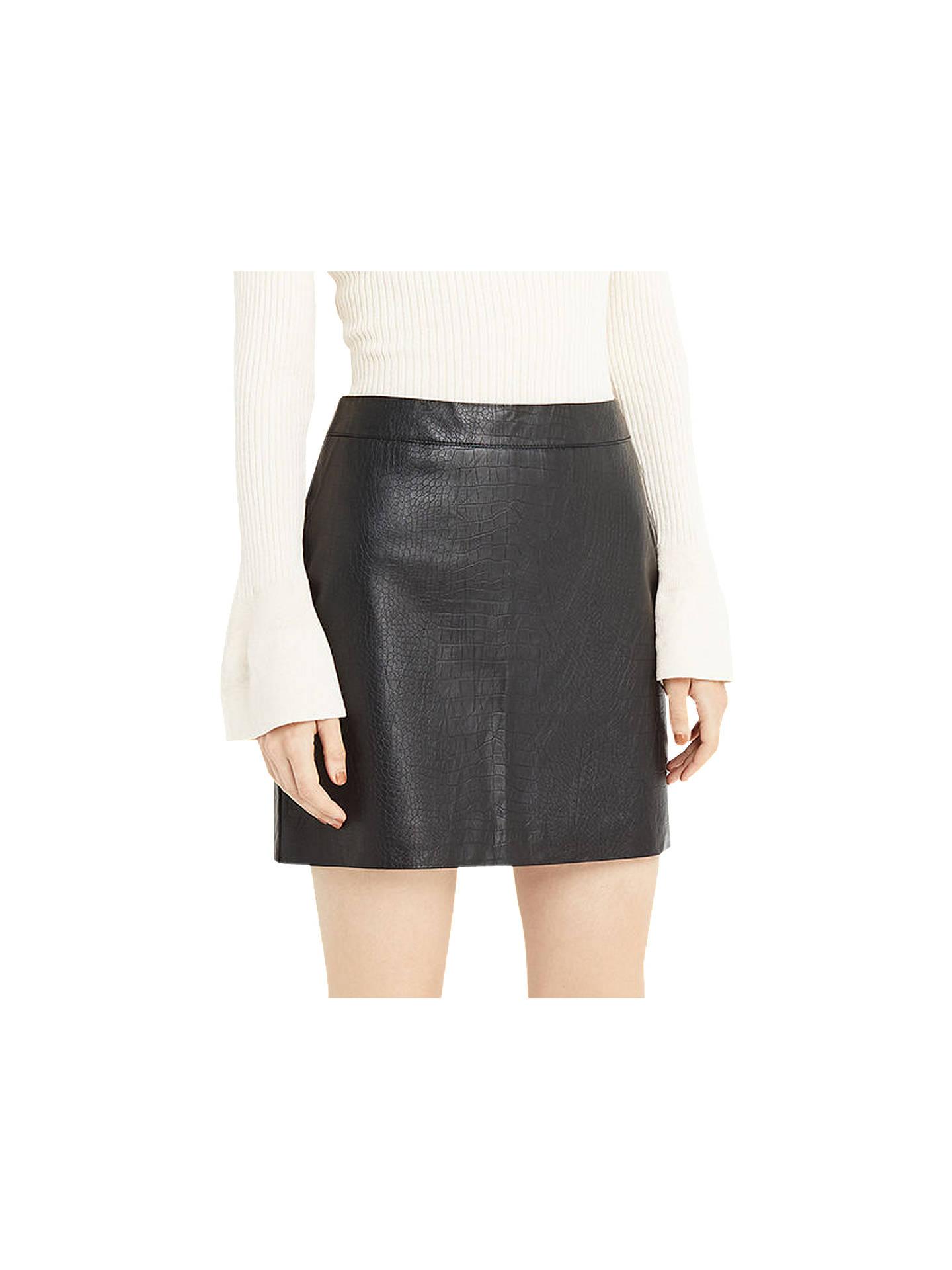 b496289ef9ad Buy Oasis Faux Leather Croc Mini Skirt, Black, 6 Online at johnlewis.com ...